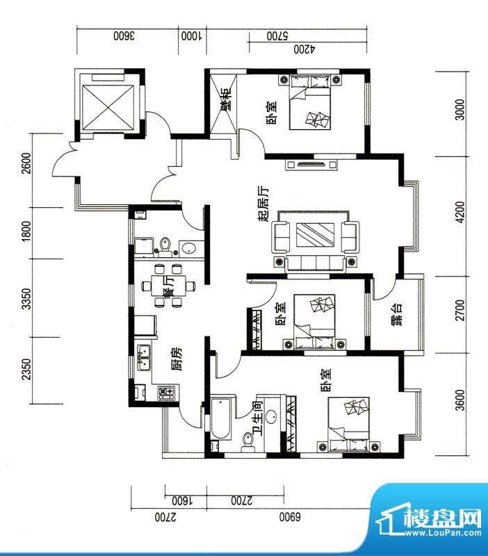 潍京G户型 3室2厅2卫1厨面积:155.46平米