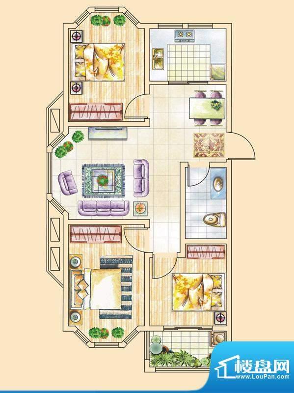 紫金花园一期小高层标准层A1户面积:95.71平米