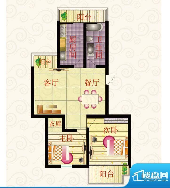 东方天韵二期小高层XA2户型 2室面积:100.00平米