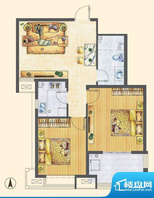 万合华庭三期小高层H户型 2室2面积:83.00平米