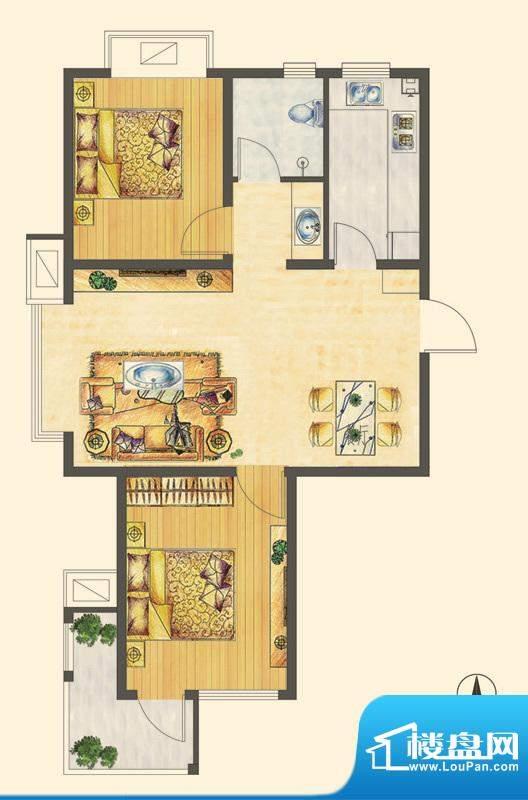 万合华庭三期小高层D户型 2室2面积:84.00平米