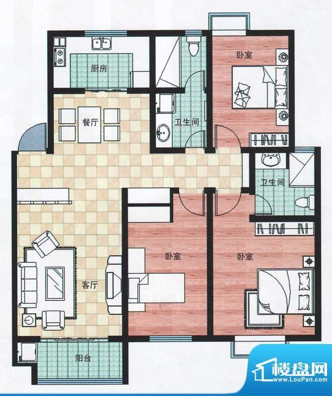 万合华庭一期多层1-10号楼C户型面积:129.00平米