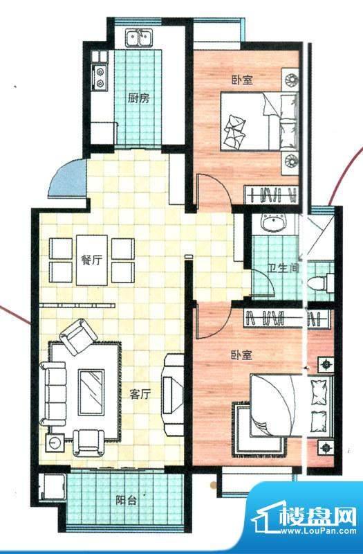 万合华庭一期多层1-10号楼B户型面积:89.00平米