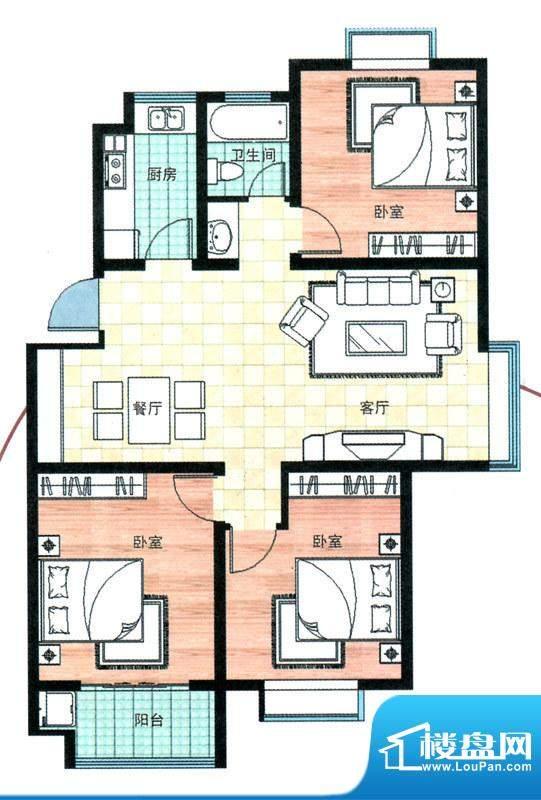 万合华庭一期多层1-10号楼A户型面积:110.00平米