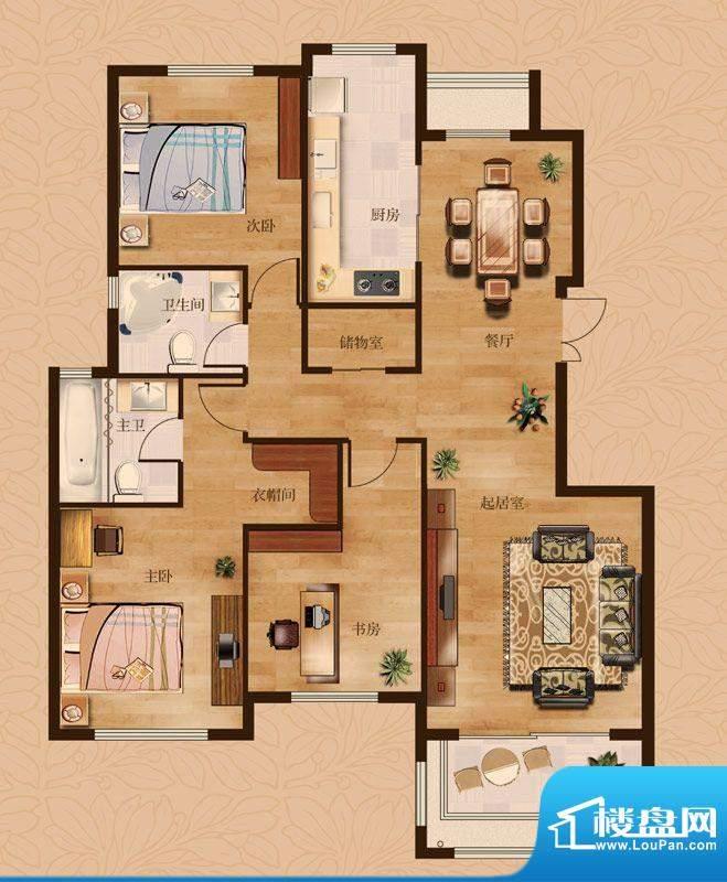茂华爱琴海一期Da户型 3室2厅2面积:146.00平米
