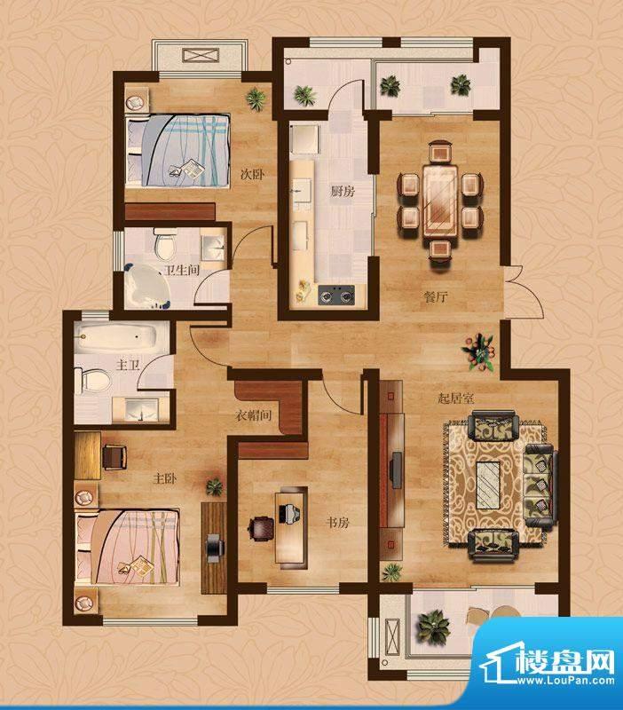 茂华爱琴海一期E户型 3室2厅2卫面积:133.00平米