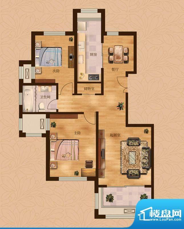 茂华爱琴海一期F户型 2室2厅1卫面积:108.00平米