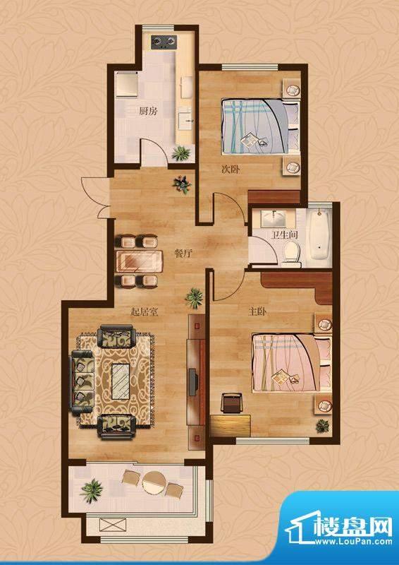 茂华爱琴海一期G户型 2室2厅1卫面积:98.00平米