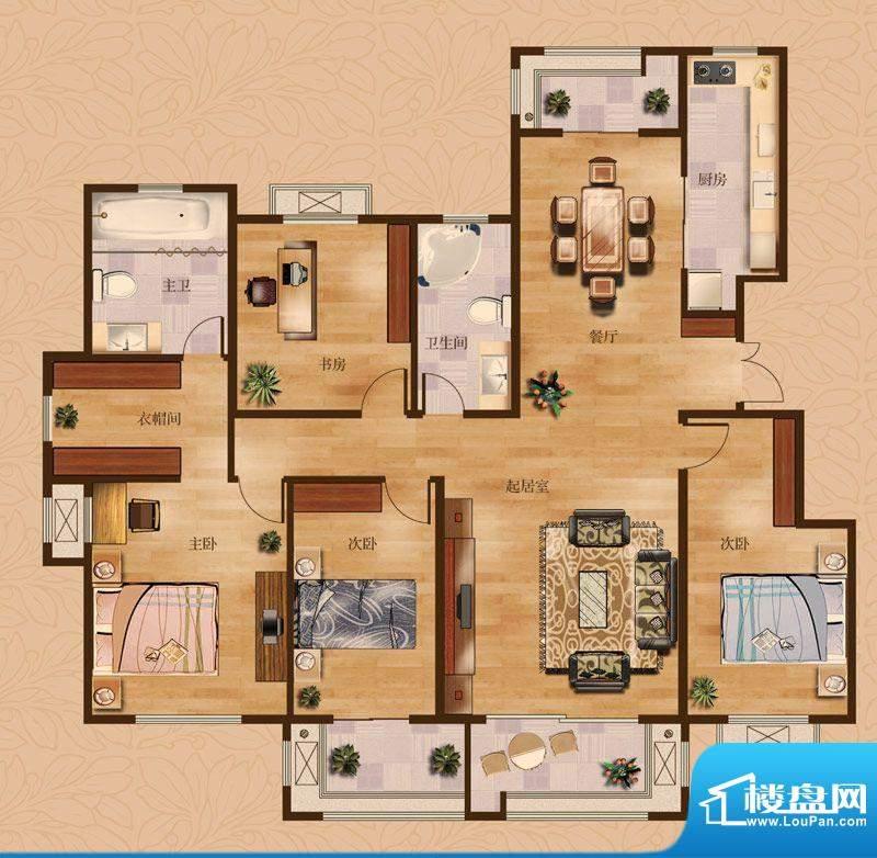 茂华爱琴海一期A户型 4室2厅2卫面积:192.00平米