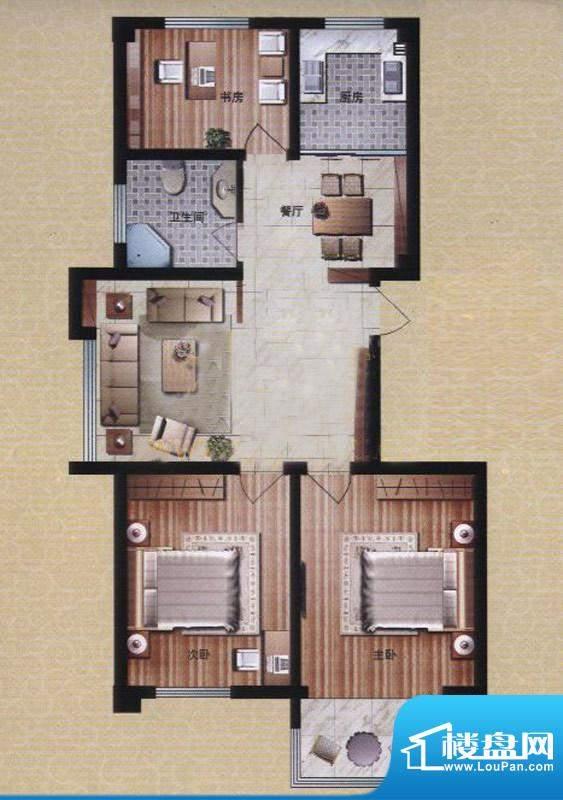 盛华园二期高层住宅 3室2厅1卫面积:112.59平米