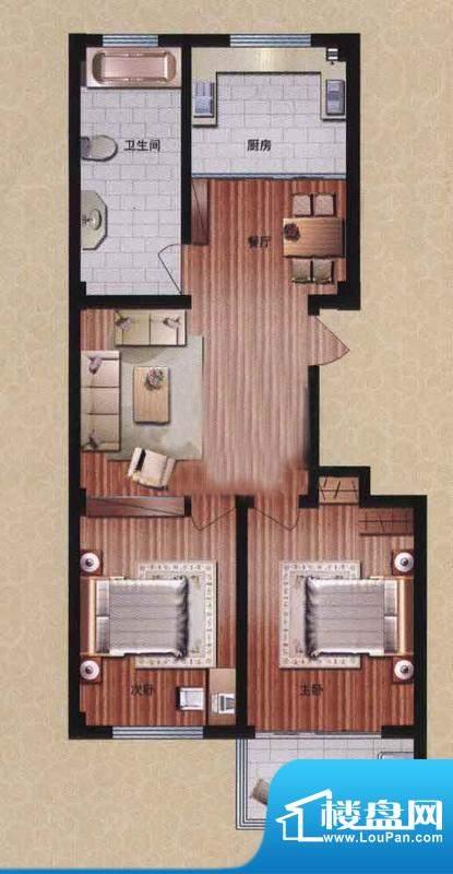 盛华园二期高层住宅 2室2厅1卫面积:106.50平米