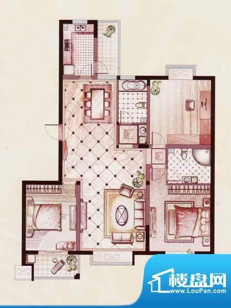 帝景苑30#-B户型 3室2厅2卫1厨面积:132.93平米
