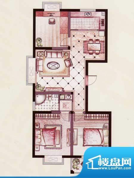 帝景苑30#-A户型 3室2厅1卫1厨面积:114.96平米