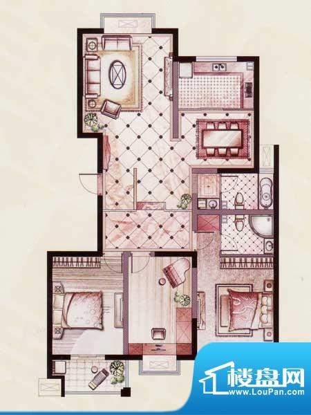 帝景苑26#-B户型 3室2厅2卫1厨面积:143.40平米