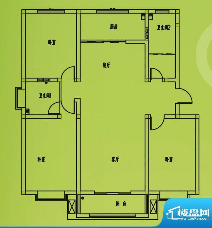惠和园4号楼标准层户型 3室2厅面积:145.00平米
