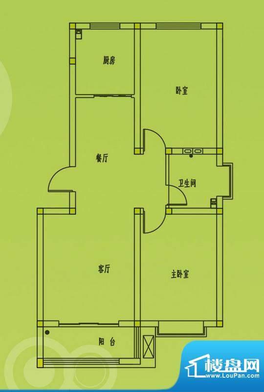 惠和园4号楼标准层户型 2室2厅面积:75.00平米