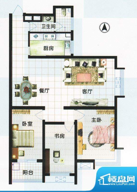 江南怡景一期3号、4号楼B户型 面积:138.63平米