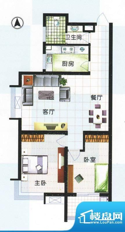 江南怡景一期3号、4号楼A户型 面积:108.00平米