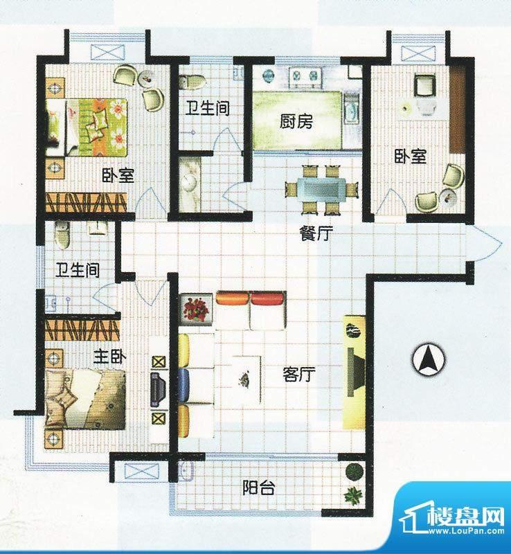 江南怡景一期3号楼C户型 3室2厅面积:141.00平米