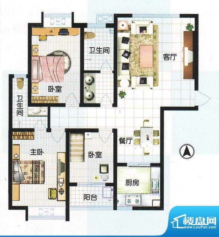 江南怡景一期4号楼E户型 3室2厅面积:139.33平米