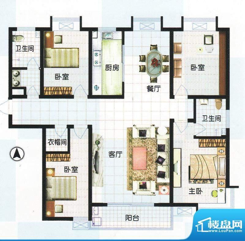 江南怡景一期3号楼D户型 4室2厅面积:180.90平米