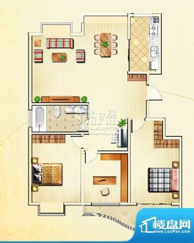 佳利秀水户型E1 3室2厅1卫1厨面积:137.83平米