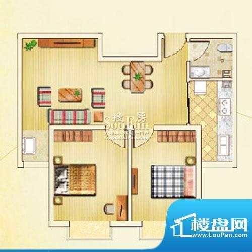 佳利秀水户型D 2室2厅1卫1厨面积:82.17平米