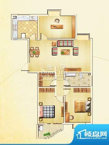 佳利秀水户型C3 3室2厅1卫1厨面积:128.30平米