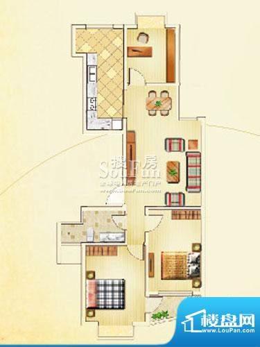 佳利秀水户型B1 3室2厅1卫1厨面积:117.77平米