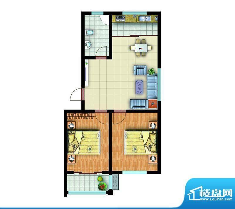 青云紫府户型1 2室2厅1卫1厨面积:85.00平米