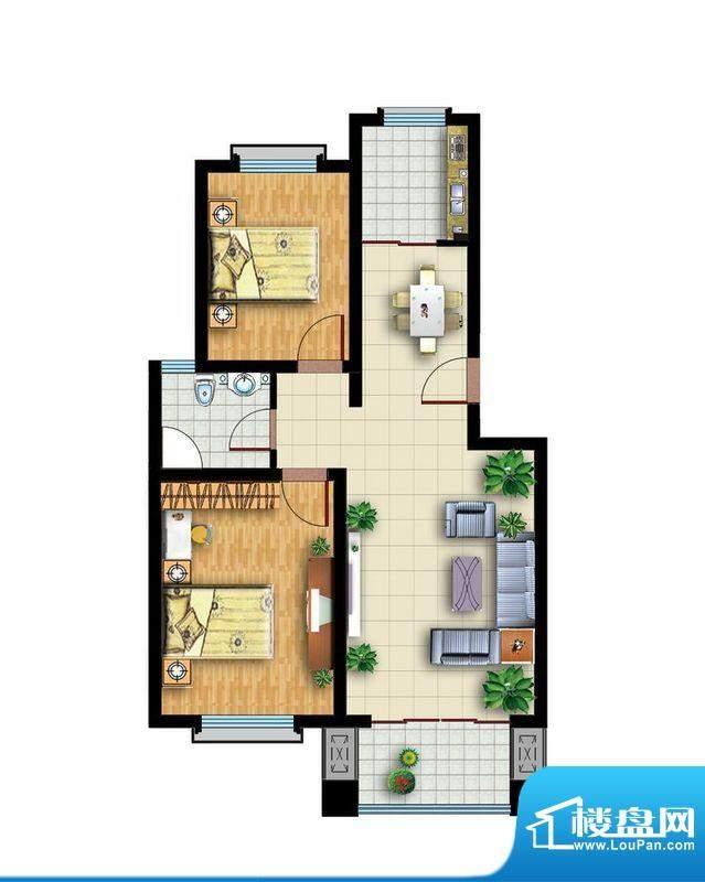青云紫府户型2 2室2厅1卫1厨面积:86.00平米