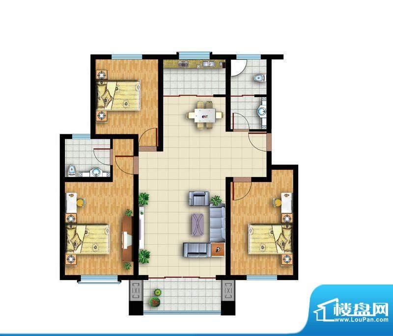 青云紫府户型3 3室2厅1卫1厨面积:130.00平米