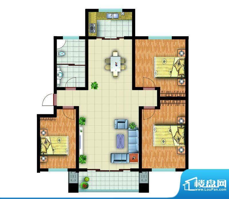 青云紫府户型4 3室2厅1卫1厨面积:133.00平米
