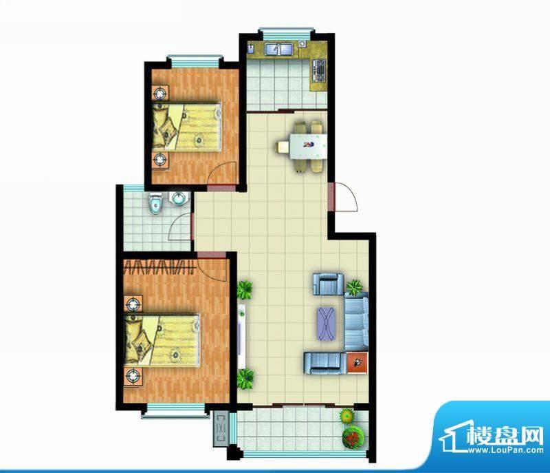 青云紫府户型5 2室2厅1卫1厨面积:95.00平米