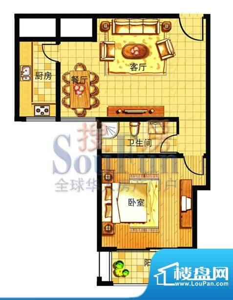 奥运城小户型公寓户型图 1室2厅面积:78.00平米