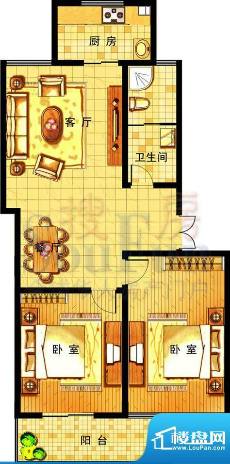 奥运城小高层户型三 2室2厅1卫