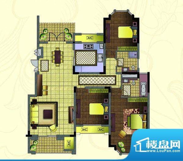 紫金东郡 3室 户型图面积:126.00平米