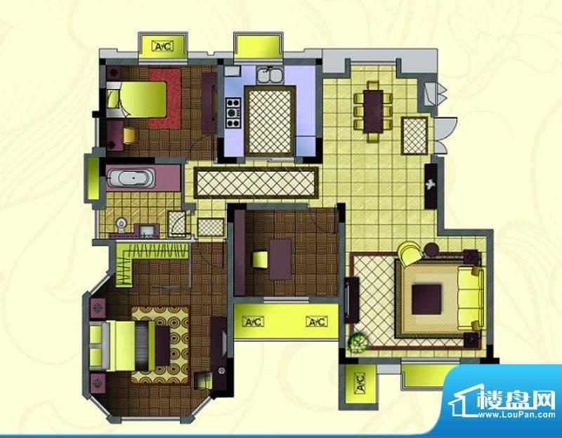 紫金东郡电梯花园洋房顶层端户面积:113.00平米