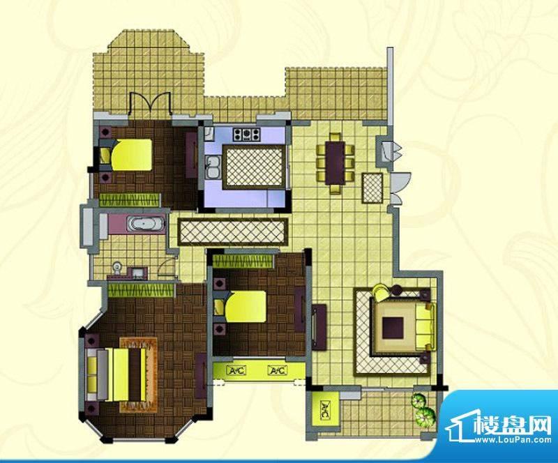 紫金东郡电梯花园洋房端户:L1面积:118.00平米