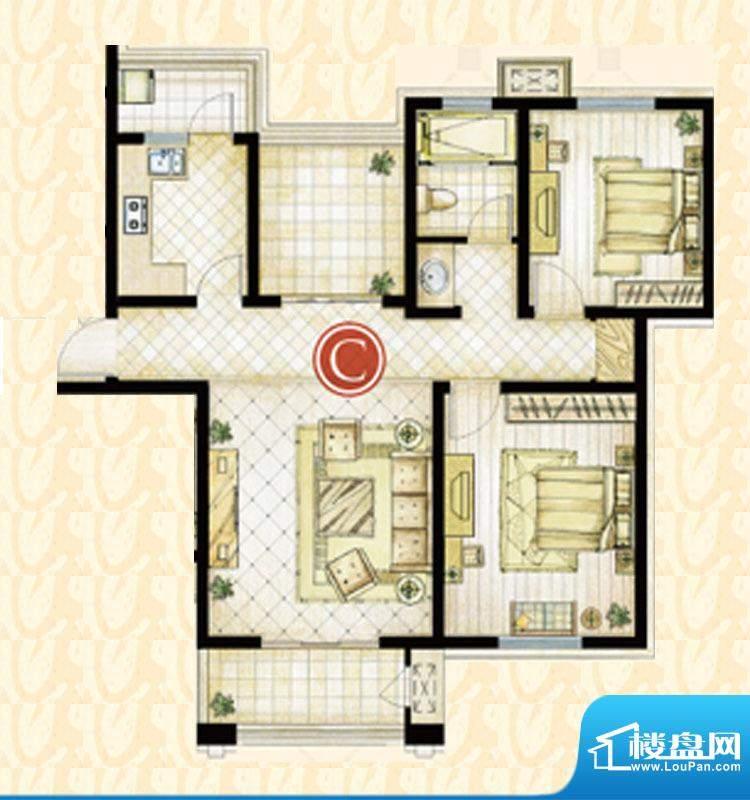 世茂东都1#楼C户型 3室1厅1卫1面积:105.72平米