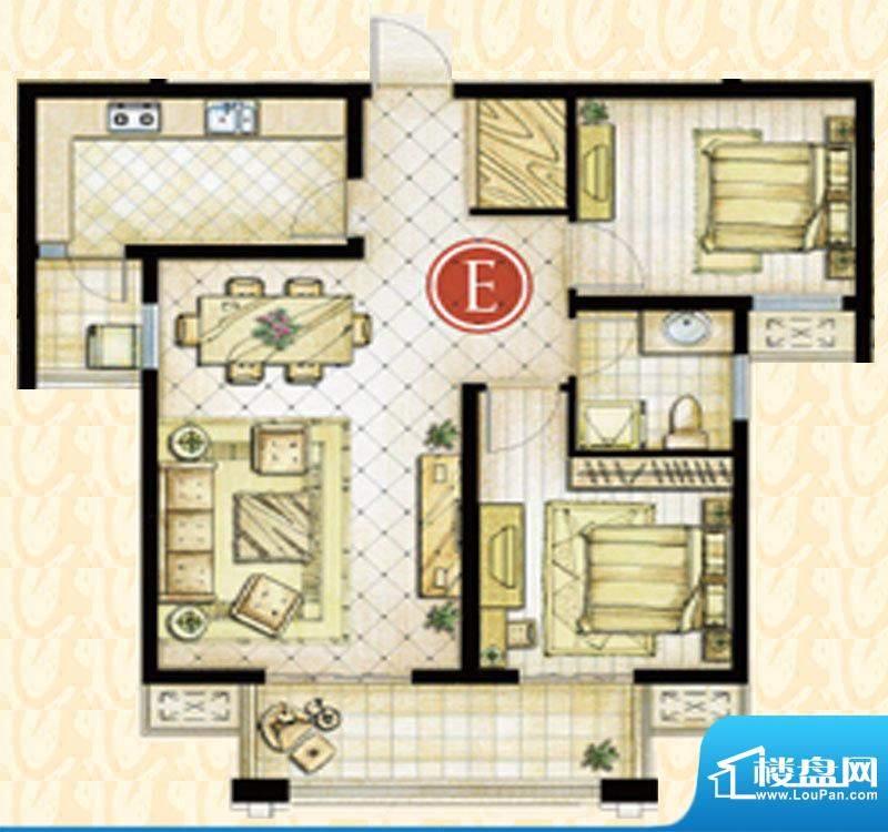 世茂东都1#楼E户型 2室2厅1卫1面积:92.69平米