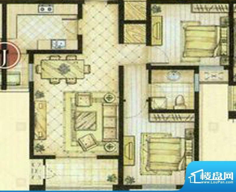 世茂东都J户型 2室2厅1卫1厨面积:93.00平米