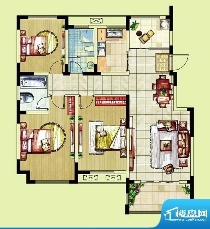 东南郡B5户型 3室2厅2卫面积:116.00平米
