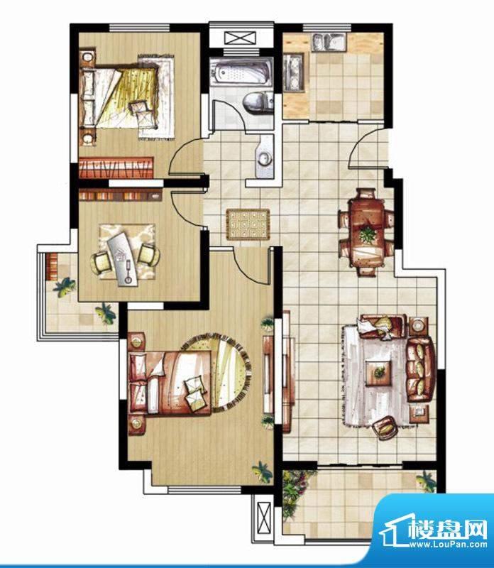 东南郡B3户型 3室2厅1卫面积:105.00平米