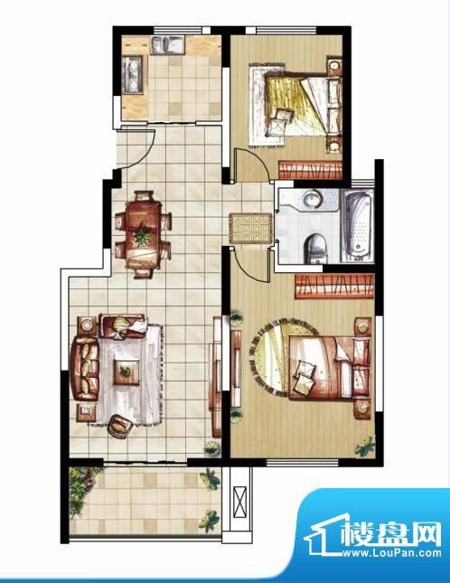 东南郡B4户型 2室2厅1卫面积:95.00平米