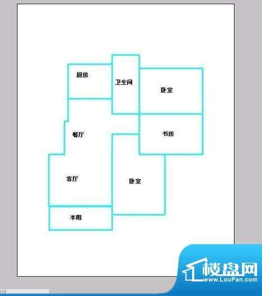 东南郡 3室 户型图面积:104.00平米