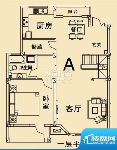 开元麓郡A户型 一层平面 4室2厅面积:241.42平米