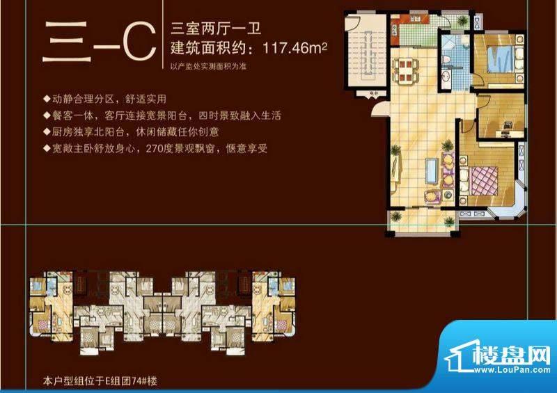 苏商御景湾D/E组团三-C户型图 面积:117.46平米