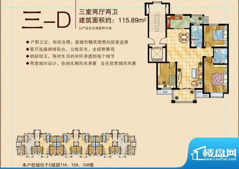 苏商御景湾D/E组团三-D户型图 面积:115.89平米