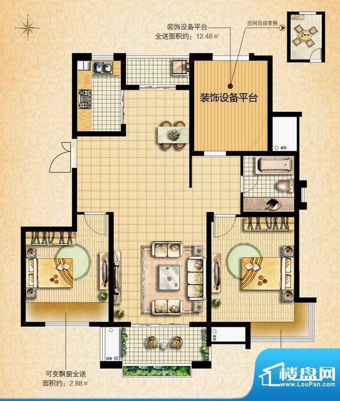 国基城邦36#温雅居户型图 2室2面积:115.00平米